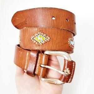 Gap Brown Leather Beaded Boho Tribal Western Belt